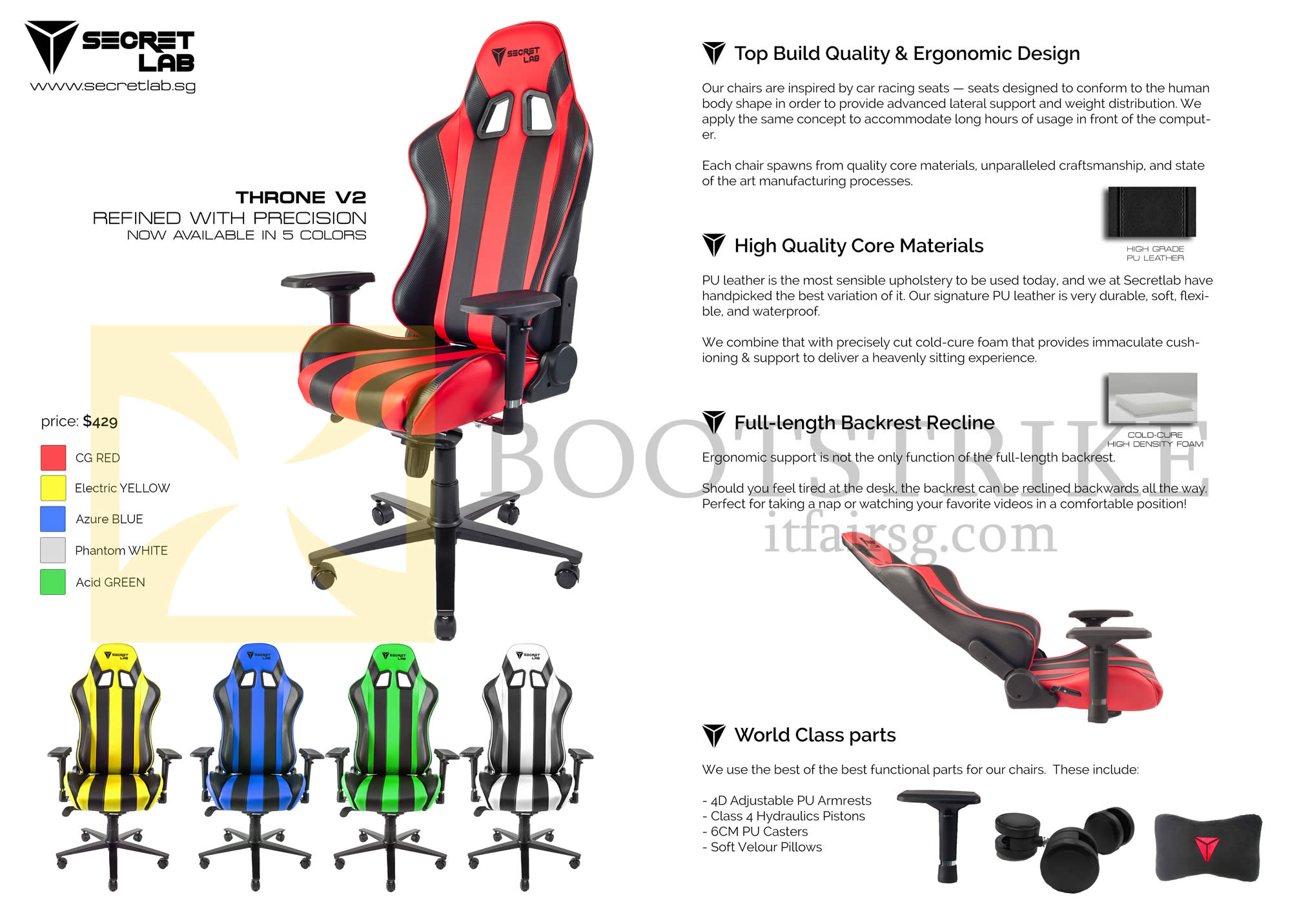 SITEX 2015 price list image brochure of Secret Lab Chair Throne V2 Features