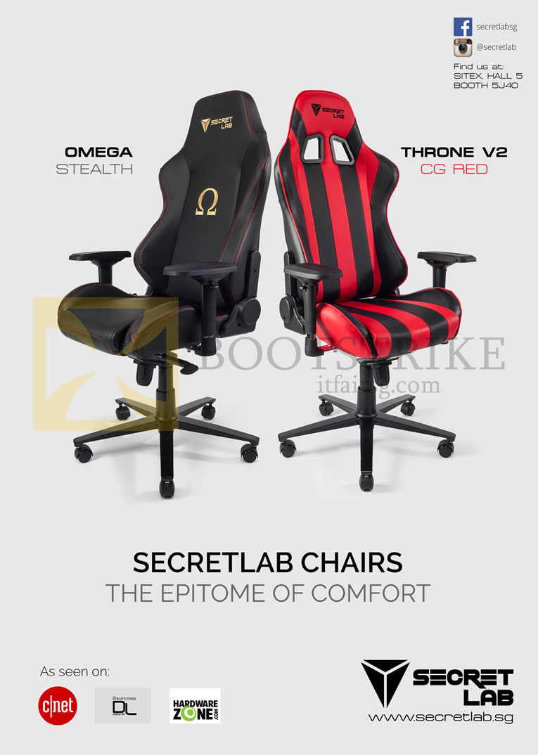 SITEX 2015 price list image brochure of Secret Lab Chairs Omega Stealth, Throne V2 CG Red