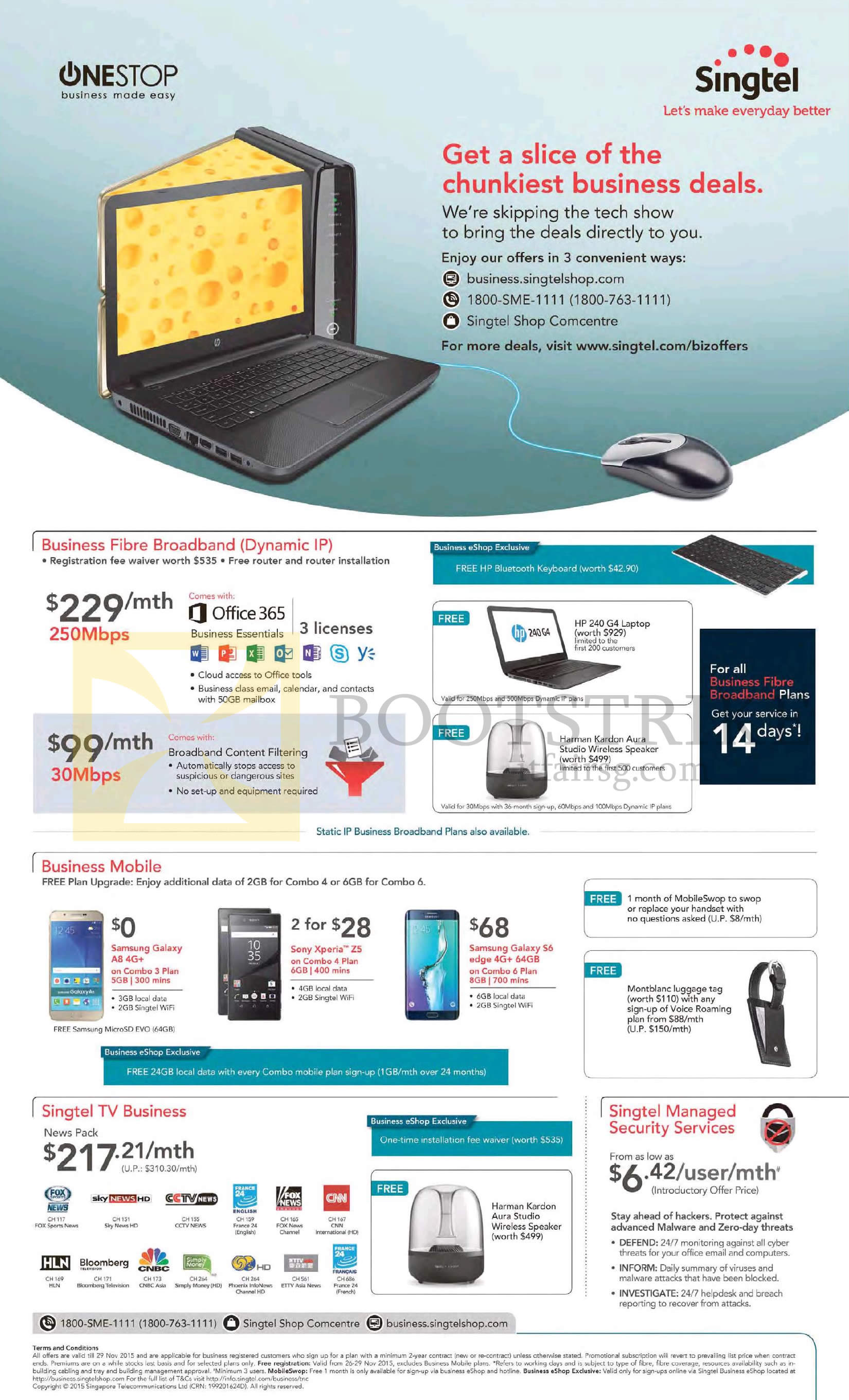 SITEX 2015 price list image brochure of Singtel Business 30Mbps, 250Mbps Fibre Broadband, TV, Security Services, Mobile Phones Samsung Galaxy A8, S6 Edge, Sony Xperia Z5