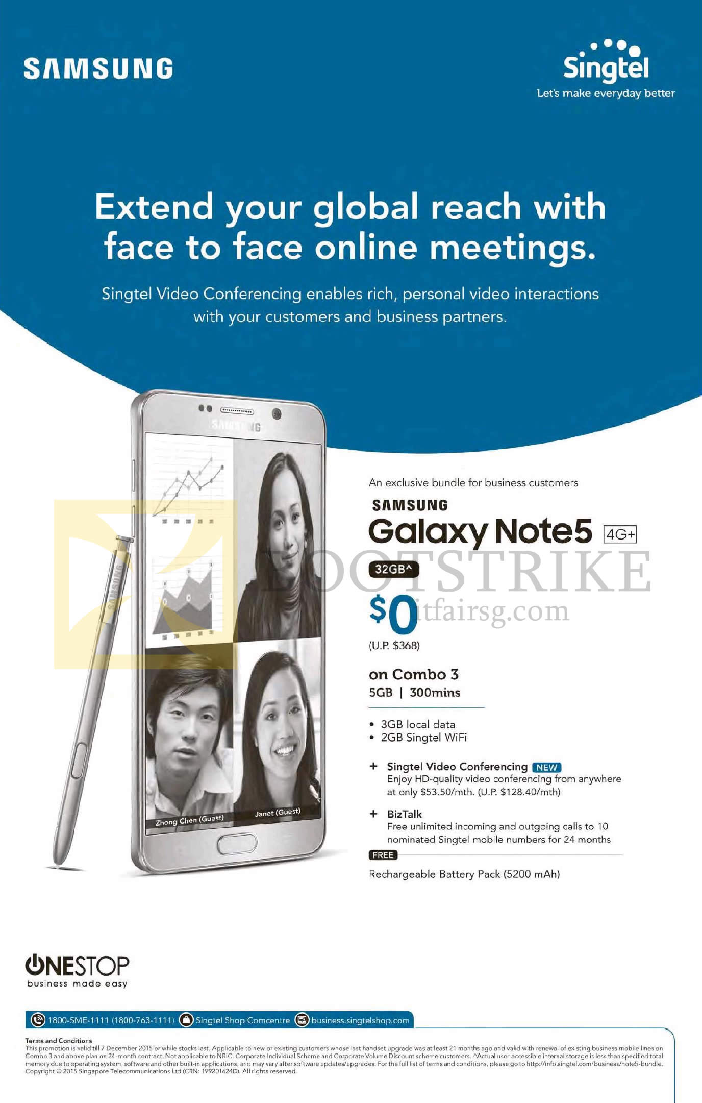 SITEX 2015 price list image brochure of Singtel Business Exclusive Bundle, Samsung Galaxy Note 5 32GB