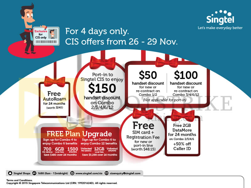 SITEX 2015 price list image brochure of Singtel Corporate Individual Scheme CIS Offers