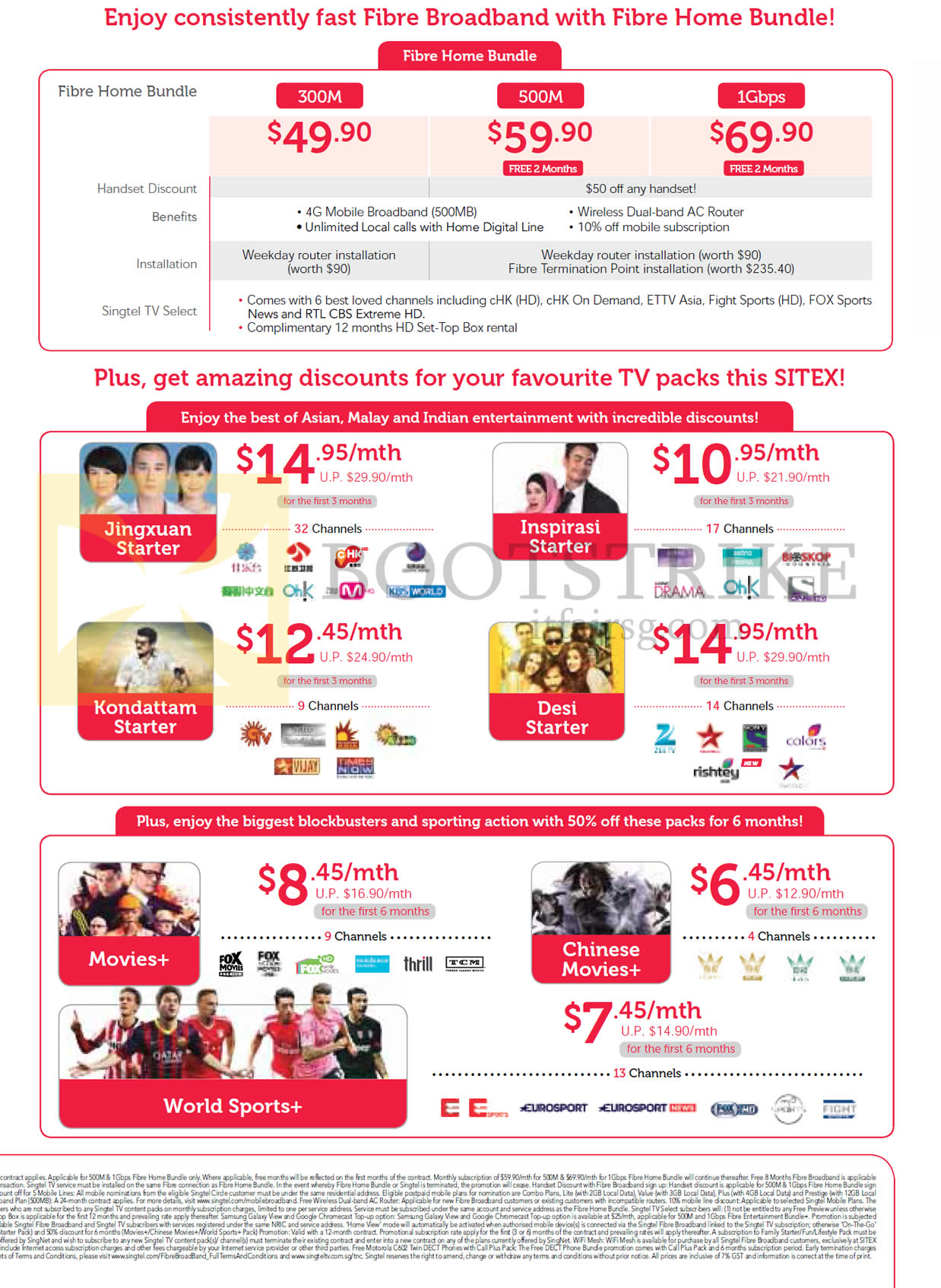 SITEX 2015 price list image brochure of Singtel Fibre Broadband Home Bundles 300M 500M 1Gbps, TV Packs, Jingxuan, Kondattam, Inspirasi, Desi Starter, Movies Plus, Chinese Movies Plus, World Sports Plus
