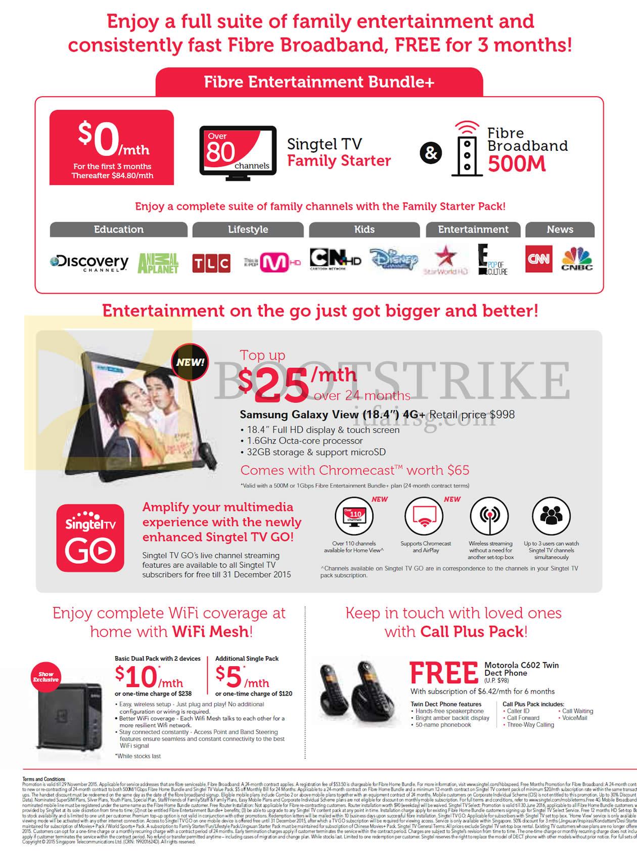SITEX 2015 price list image brochure of Singtel Fibre Entertainment Bundle Plus, WiFi Mesh, Call Plus Pack