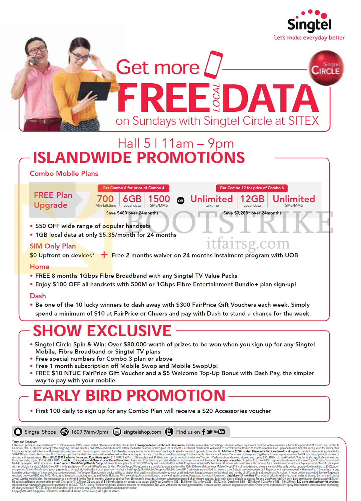 SITEX 2015 price list image brochure of Singtel Islandwide Promotions, Show Exclusives, Early Bird Promotions