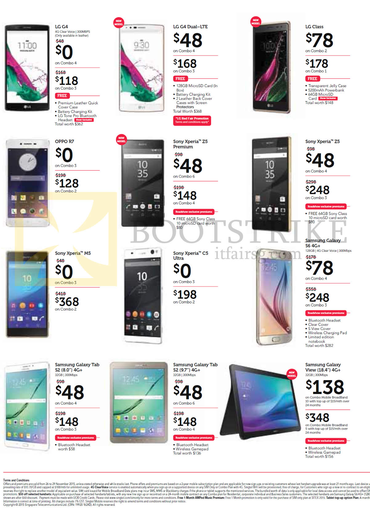 SITEX 2015 price list image brochure of Singtel Mobile Phones LG G4, G4 Dual LTE, Class, Oppo R7, Sony Xperia Z5 Premium, Z5, M5, C5 Ultra, Samsung Galaxy S6, Tab S2 8.0, Tab S2 9.7, View 18.4