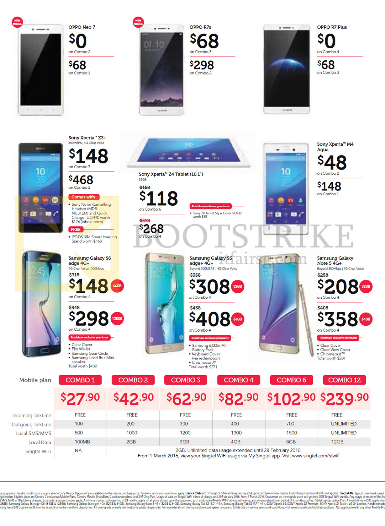 SITEX 2015 price list image brochure of Singtel Mobile Phones Oppo Neo 7, R7s, R7 Plus, Sony Xperia Z3 Plus, M4 Aqua, Samsung Galaxy S6 Edge, S6 Edge Plus, Note 5, Mobile Plans Combo 1,2,3,4,6,12