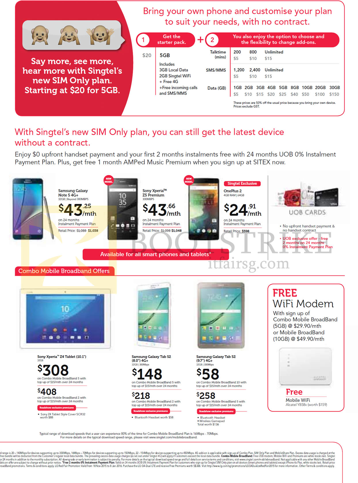 SITEX 2015 price list image brochure of Singtel Sim Only Plan, Mobile Phones, Tablets, Sony Xperia Z5 Premium, OnePlus 2, Sony Xperia Z4 Tablet 10.1, Samsung Galaxy Tab S2 8.0, Note 5, Tab S2 9.7