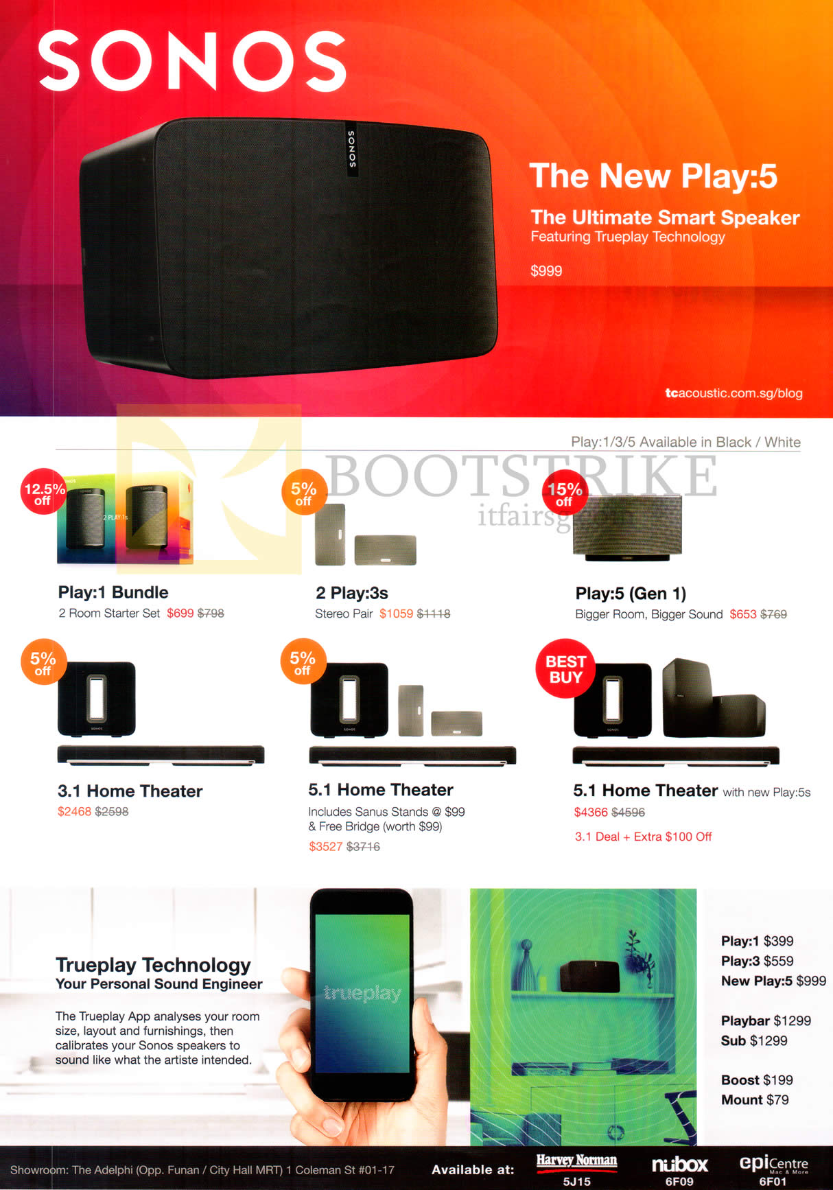 SITEX 2015 price list image brochure of Sonos Play-1 Bundle, 3s, Play 5 Gen 1, Home Theater, 5.1 Home Theater, 5.1 Home Theater, Trueplay Technology