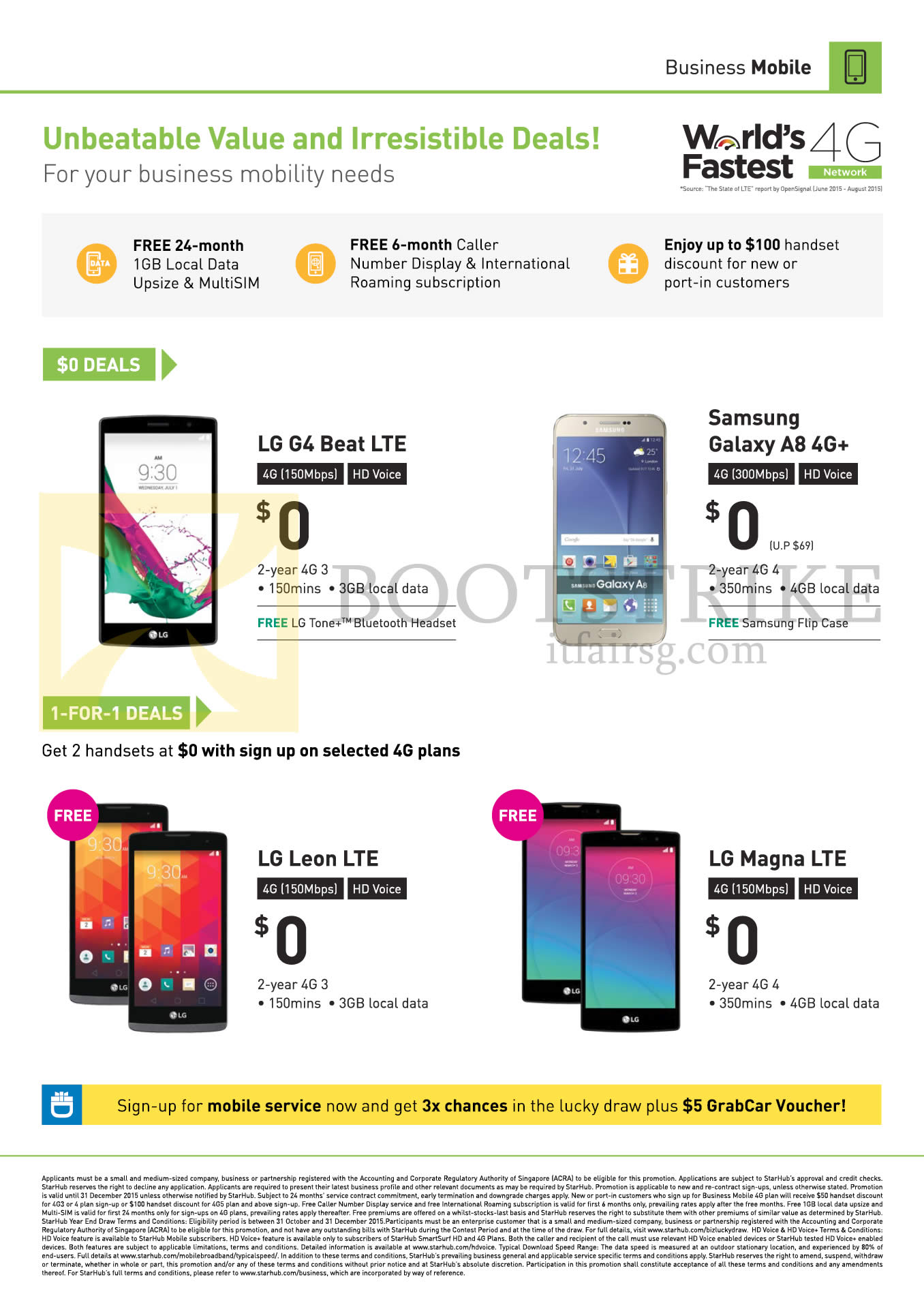 SITEX 2015 price list image brochure of Starhub Business LG G4 Beat, Leon LTE, Magna LTE, Samsung Galaxy A8