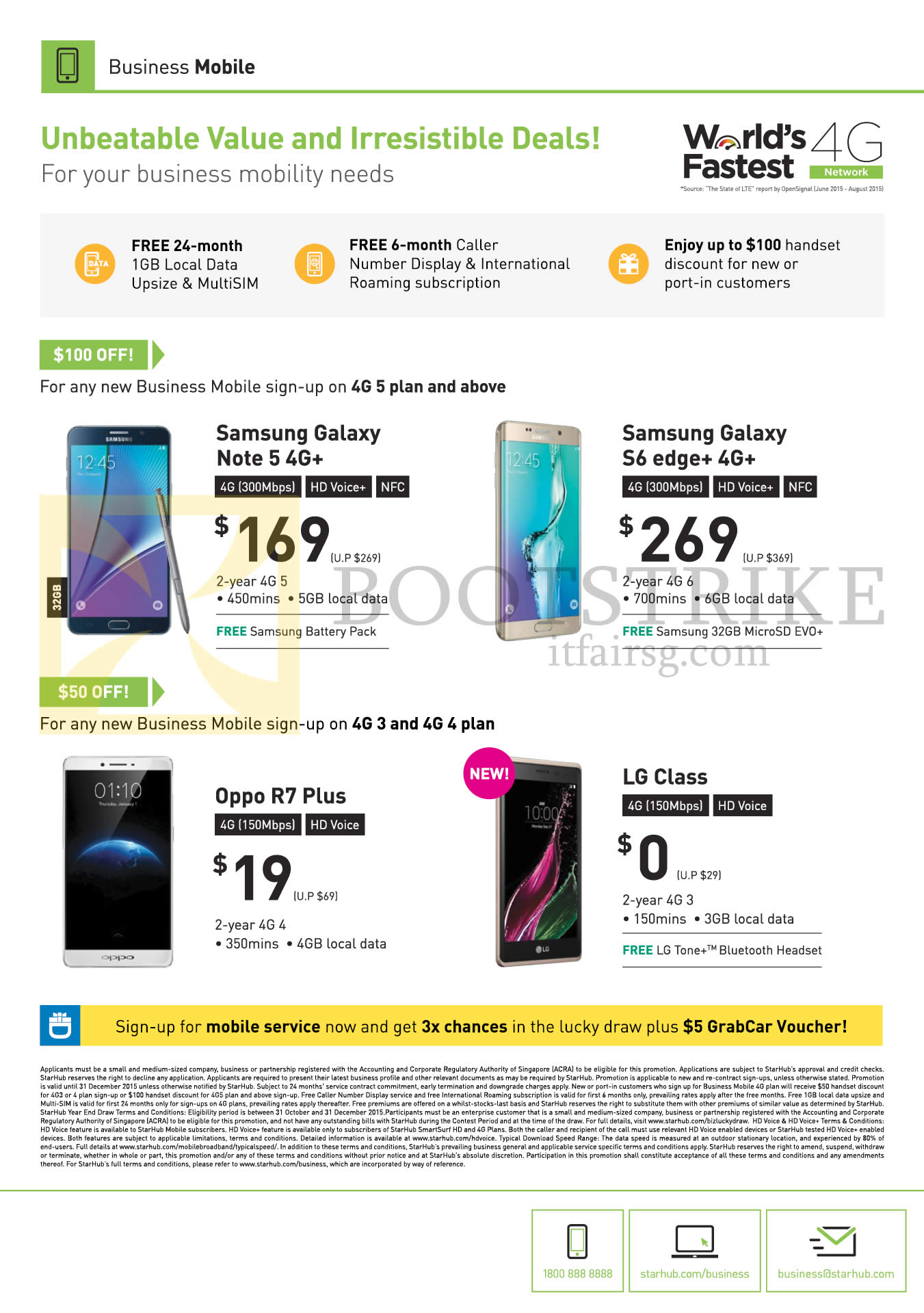 SITEX 2015 price list image brochure of Starhub Business Mobile Phones Samsung Galaxy Note 5, S6 Edge Plus, Oppo R7 Plus, LG Class