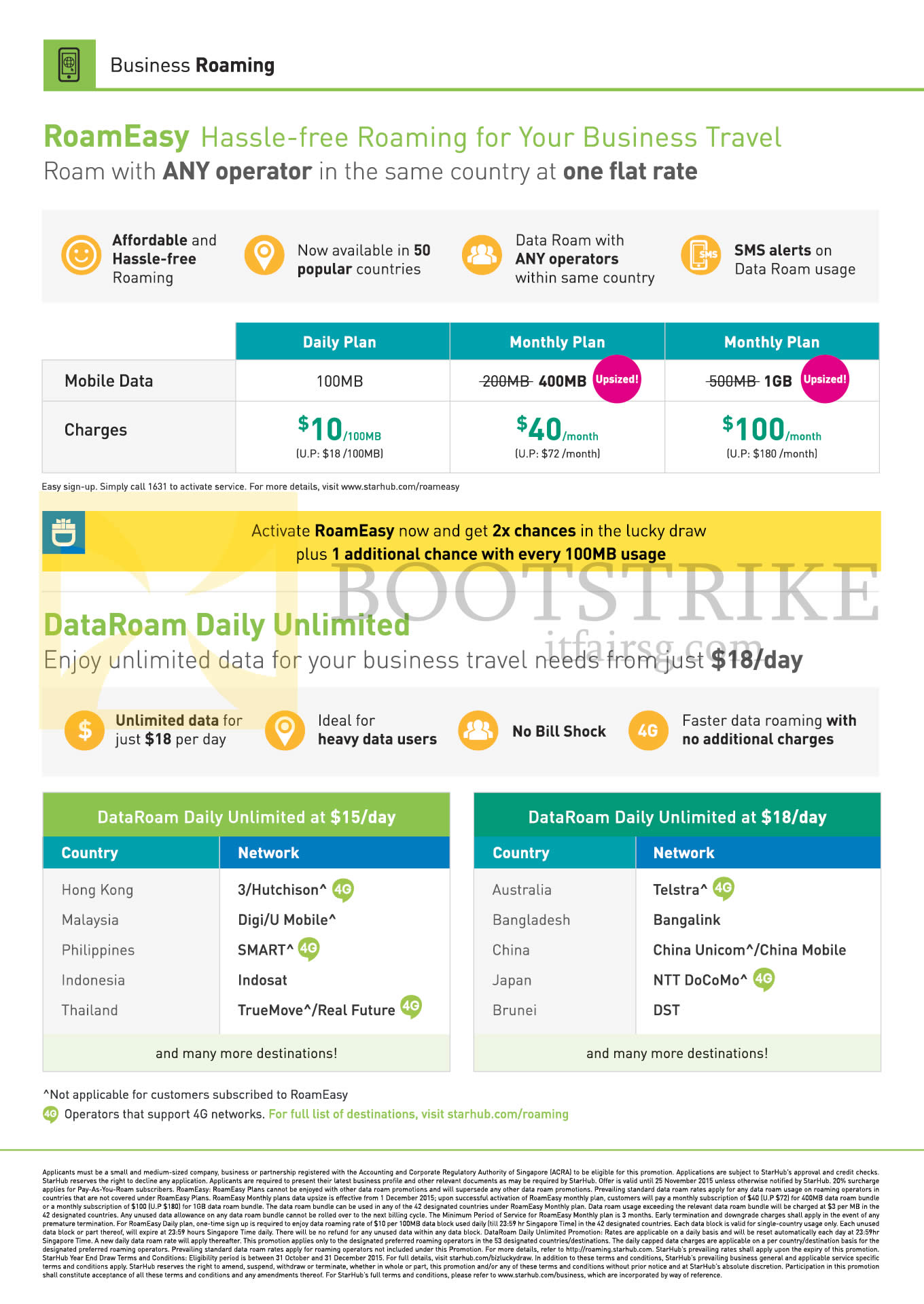 SITEX 2015 price list image brochure of Starhub Business RoamEasy Daily, Monthly Plans 10.00, 40.00, 100.00, DataRoam Daily Unlimited 15.00, 18.00