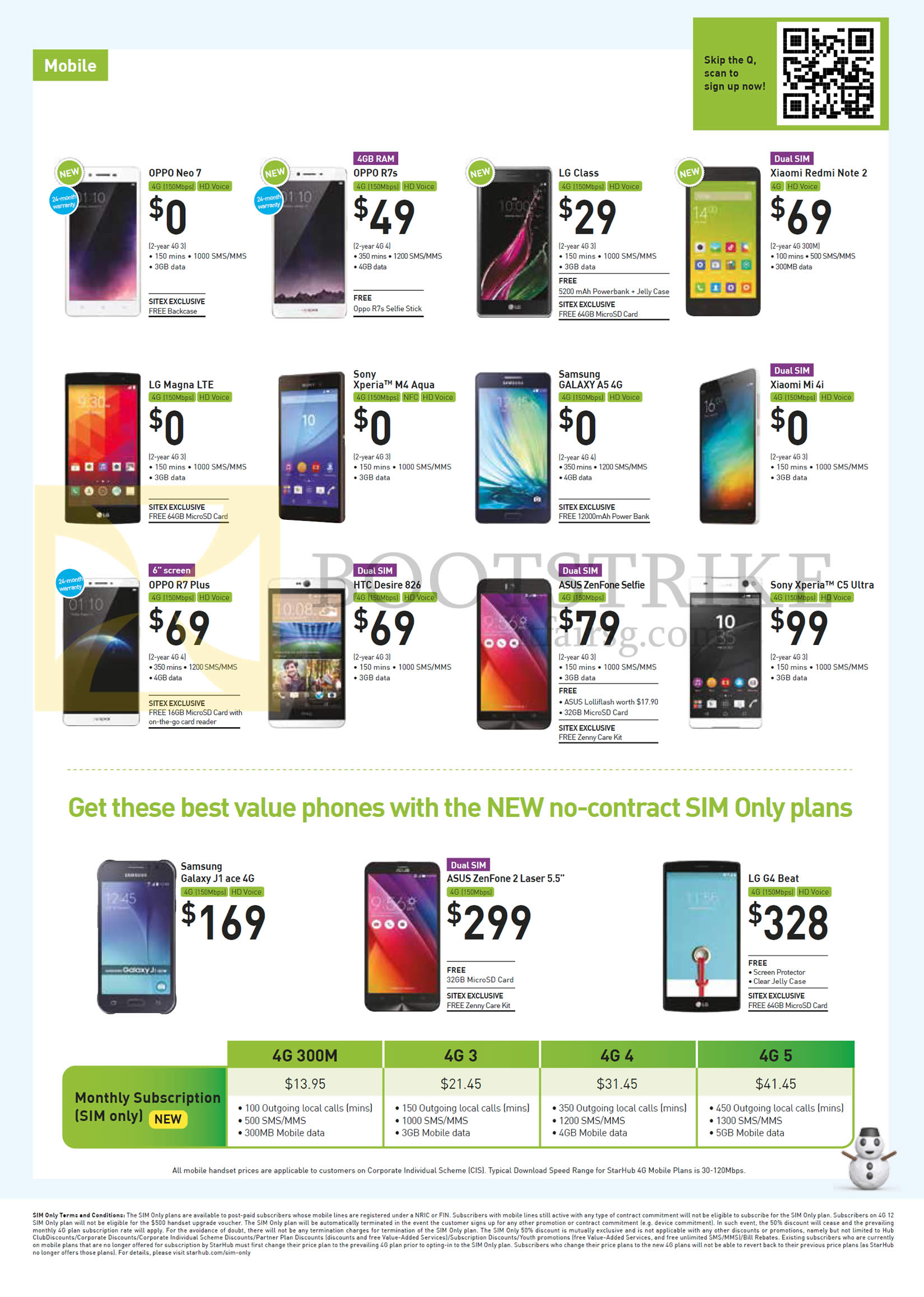 SITEX 2015 price list image brochure of Starhub Mobile Phones, Sim Only Plans, Oppo Neo 7, R7s, R7 Plus, LG Class, Magna LTE, G4 Beat, Xiaomi Redmi Note 2, Mi 4i, Sony Xperia M4 Aqua, C5 Ultra, HTC Desire 826, Asus Zenfone Selfie, 2 Laser 5.5