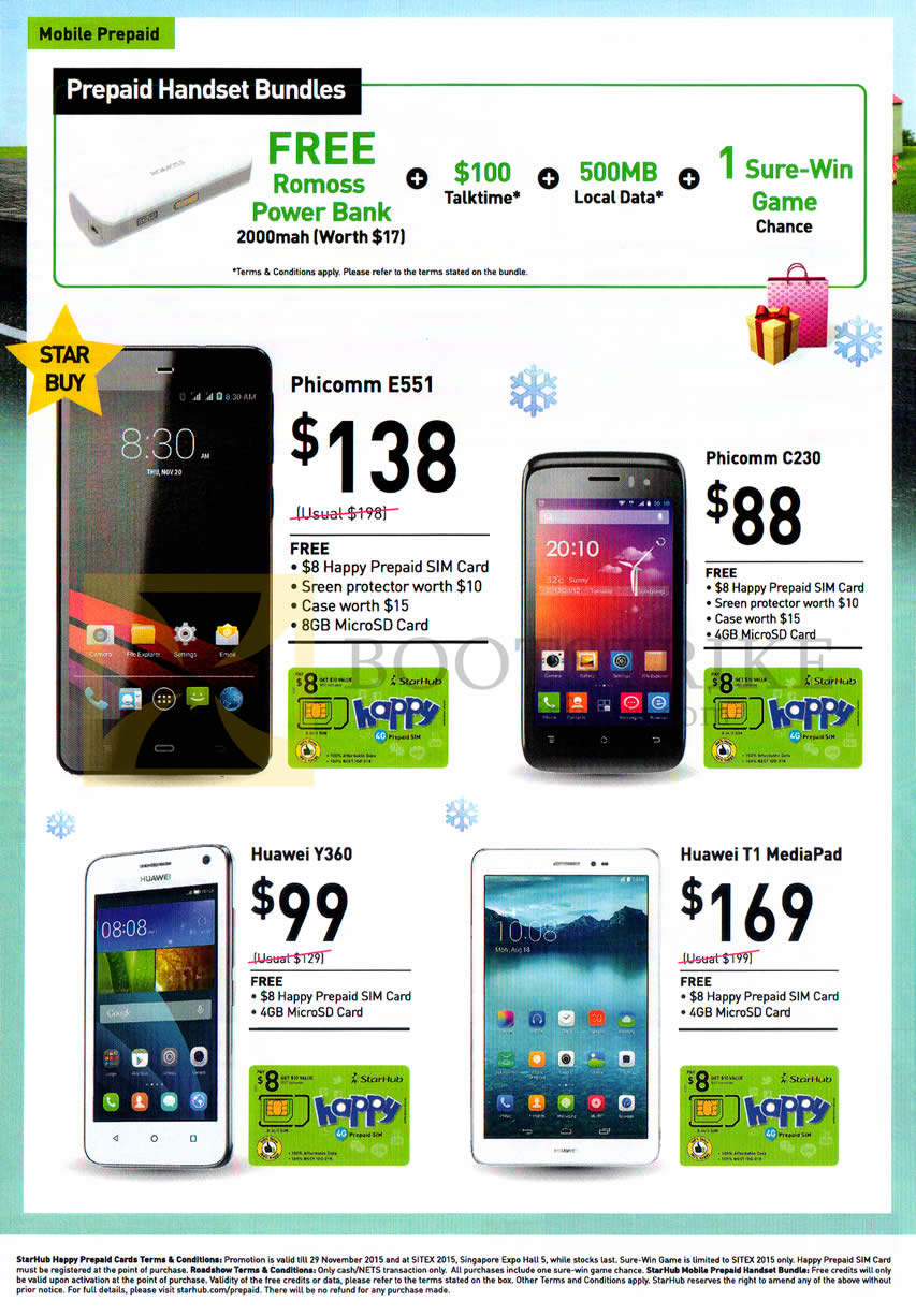 SITEX 2015 price list image brochure of Starhub Mobile Prepaid Handset Bundles, Mobile Phones, Phicomm E551, C230, Huawei Y360, T1 MediaPad