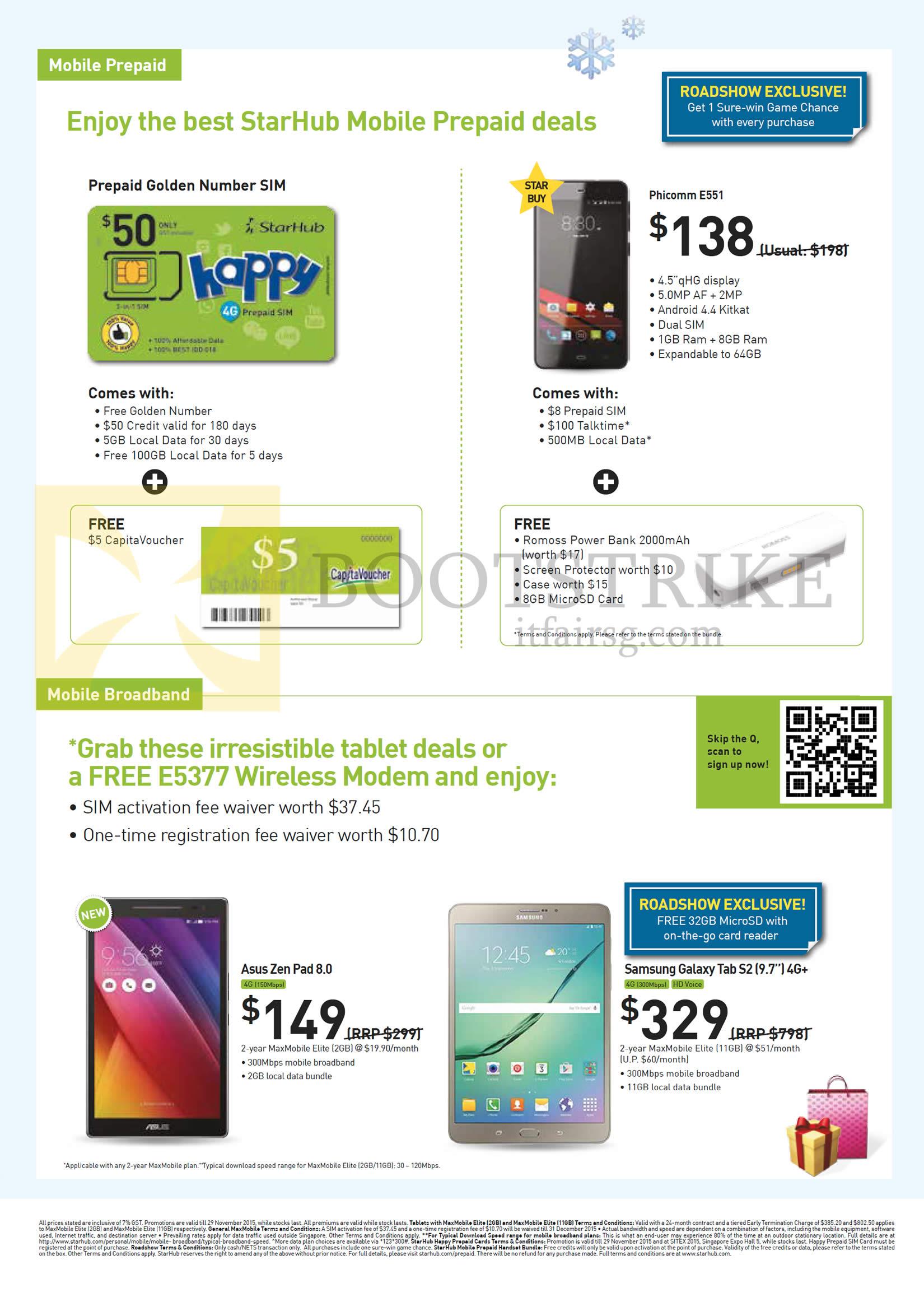 SITEX 2015 price list image brochure of Starhub Mobile Prepaid, Broadband, Golden Number Sim, Phicomm E551, Asus Zenpad 8.0, Samsung Galaxy Tab S2 9.7