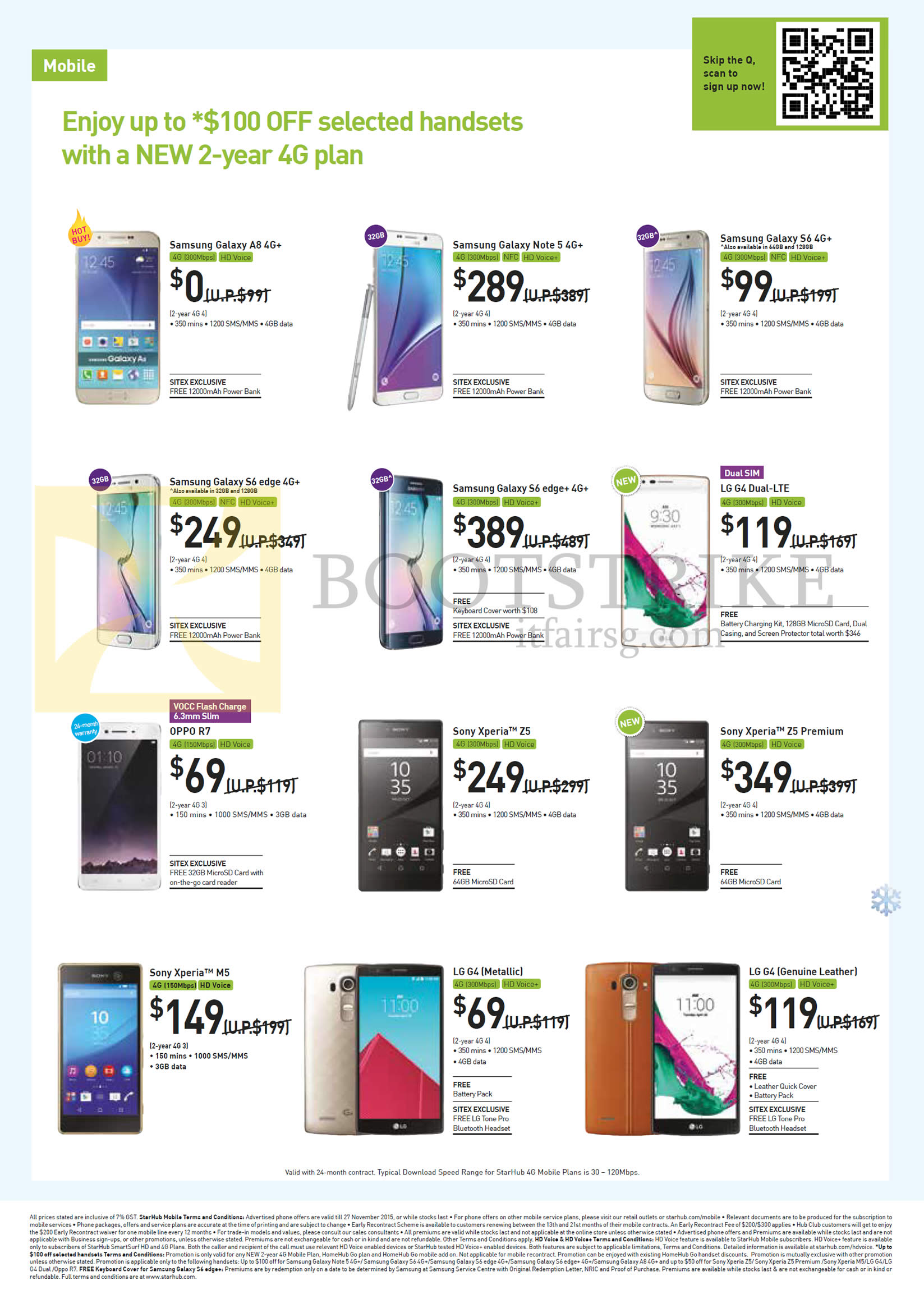 SITEX 2015 price list image brochure of Starhub Mobile Samsung Galaxy A8, Note 5, S6, S6 Edge, S6 Edge Plus, LG G4 Dual, G4 Metallic, Genuine Leather, Oppo R7, Sony Xperia Z5, Z5 Premium, M5