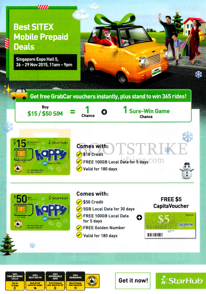 SITEX 2015 price list image brochure of Starhub Prepaid Mobile Deals, Free 5 Dollar CapitaVoucher