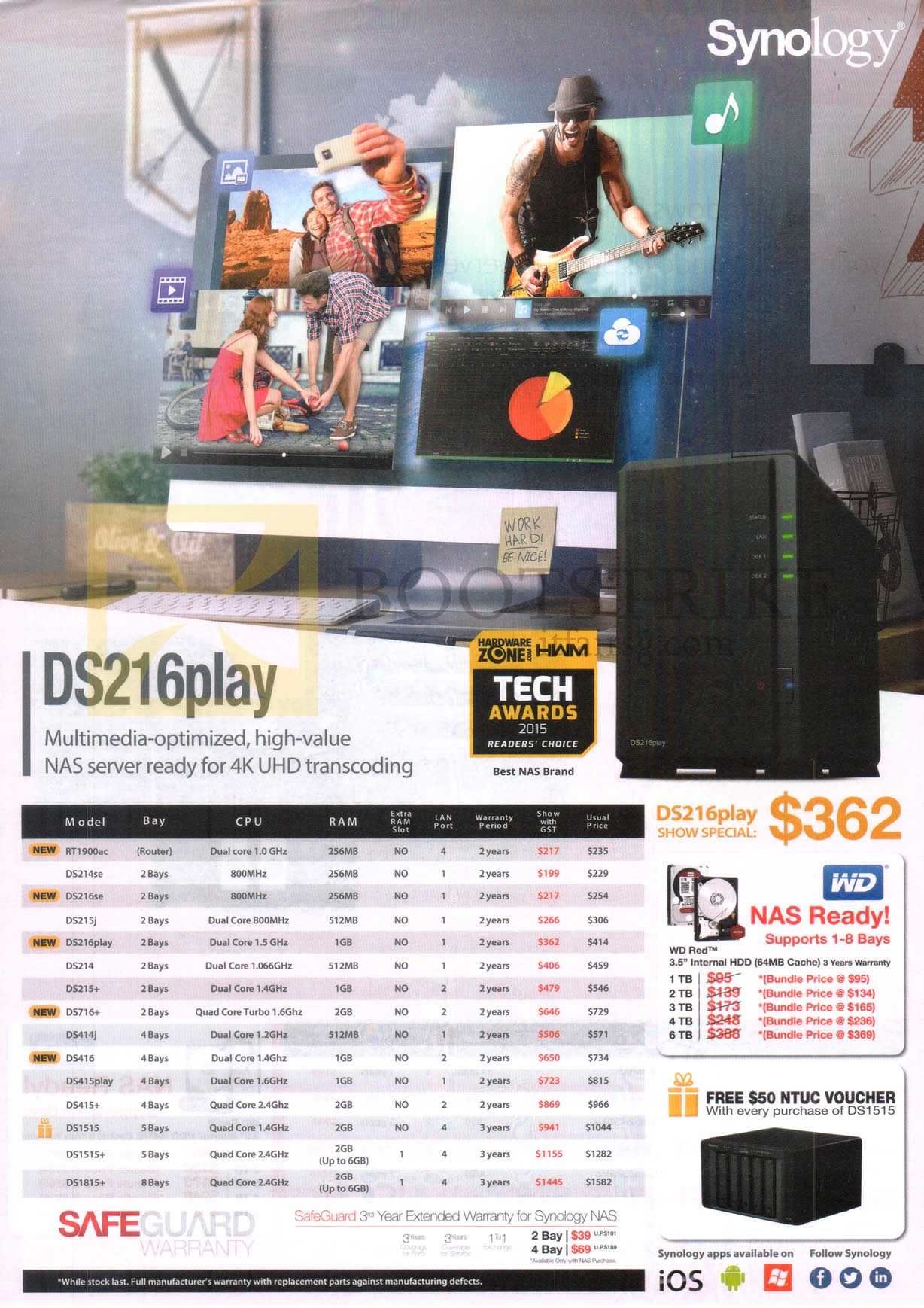 SITEX 2015 price list image brochure of Synology NAS DS216play High Value NAS Servers