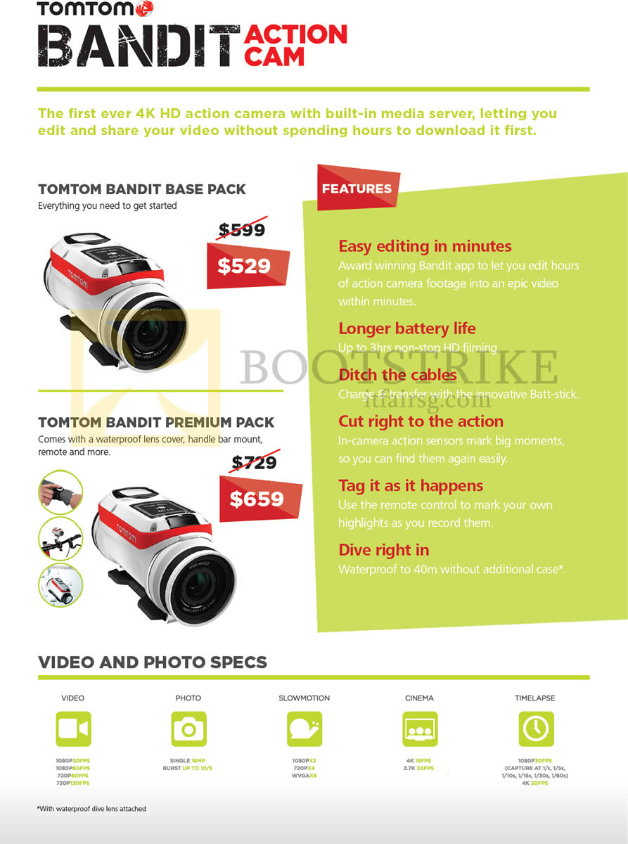 SITEX 2015 price list image brochure of TomTom Bandit Action Cam, Base Pack, Premium Pack