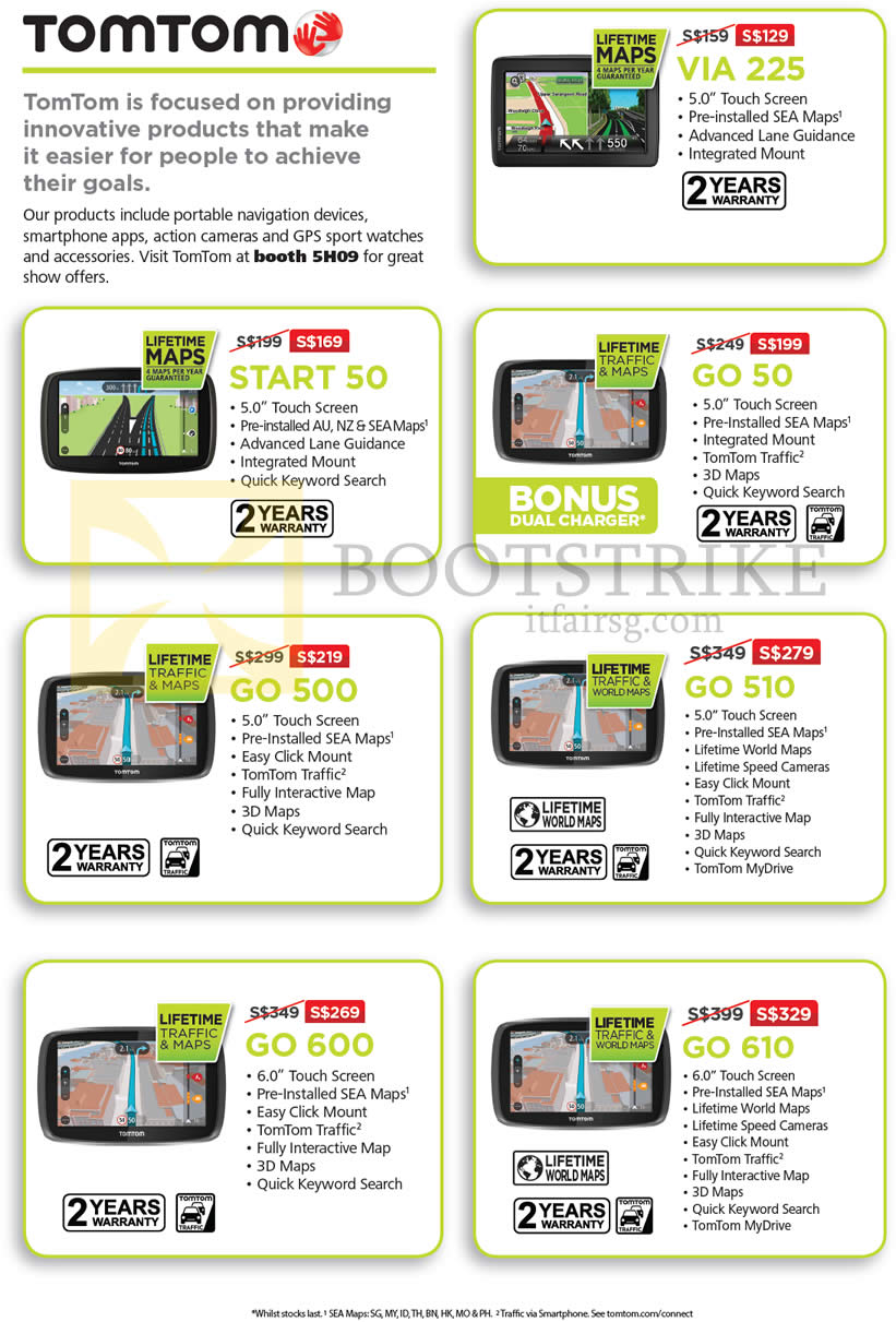 SITEX 2015 price list image brochure of TomTom GPS Navigators VIA 225, GO 50, START 50, GO 500, GO 510, GO 610, GO 600