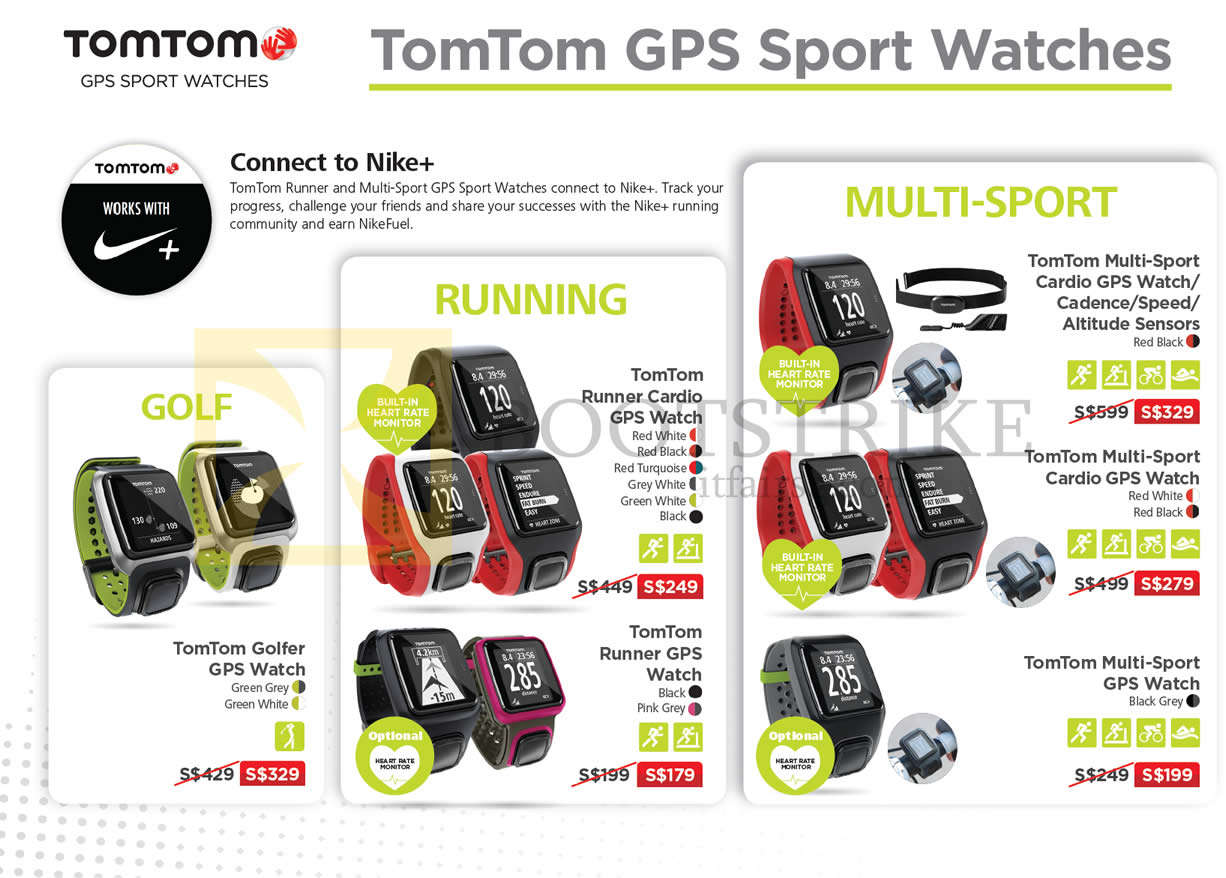 SITEX 2015 price list image brochure of TomTom GPS Sport Watches Golfer, Runner Cardio, Multi-Sport