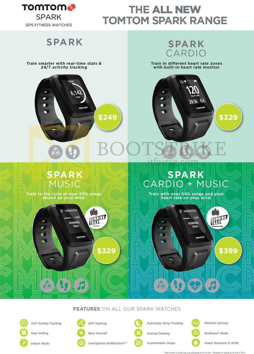 SITEX 2015 price list image brochure of TomTom Spark GPS Fitness Watches, Spark Cardio, Spark Music, Spark Cardio Music