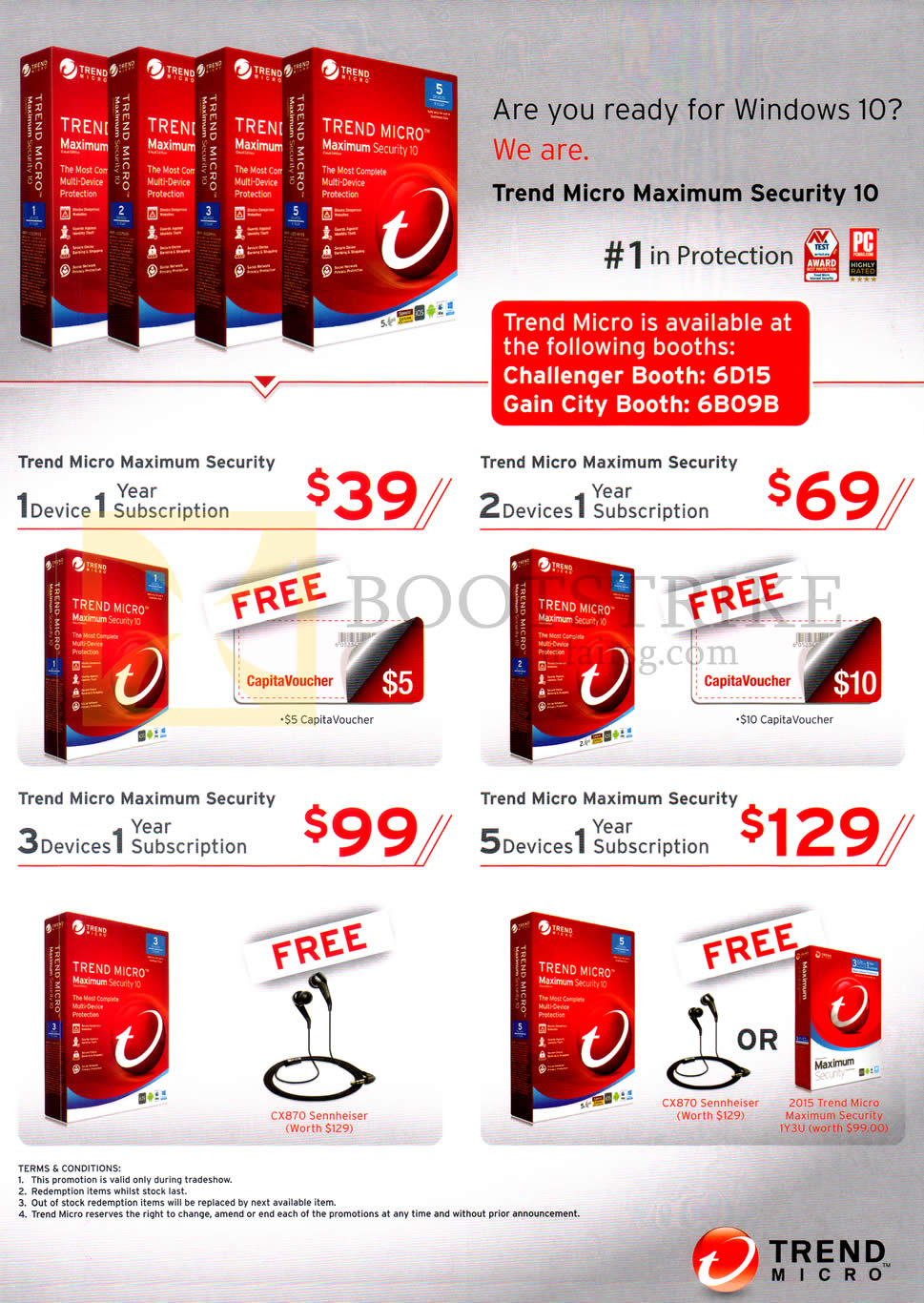 SITEX 2015 price list image brochure of Trend Micro Maximum Security 10, 1, 2, 3, 5, Devices 1 Subscription