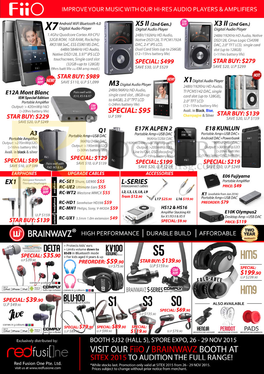 SITEX 2015 price list image brochure of Treoo Fiio Digital Audio Players, Earphones, Cables, Accessories, X7, X5 II, X3 II, E12A Mont Blanc, M3, X1, A3, Q1, E17K Alpen 2, E18 Kunlun, EX1, Delta, KV100, S5, S1, S3, S0