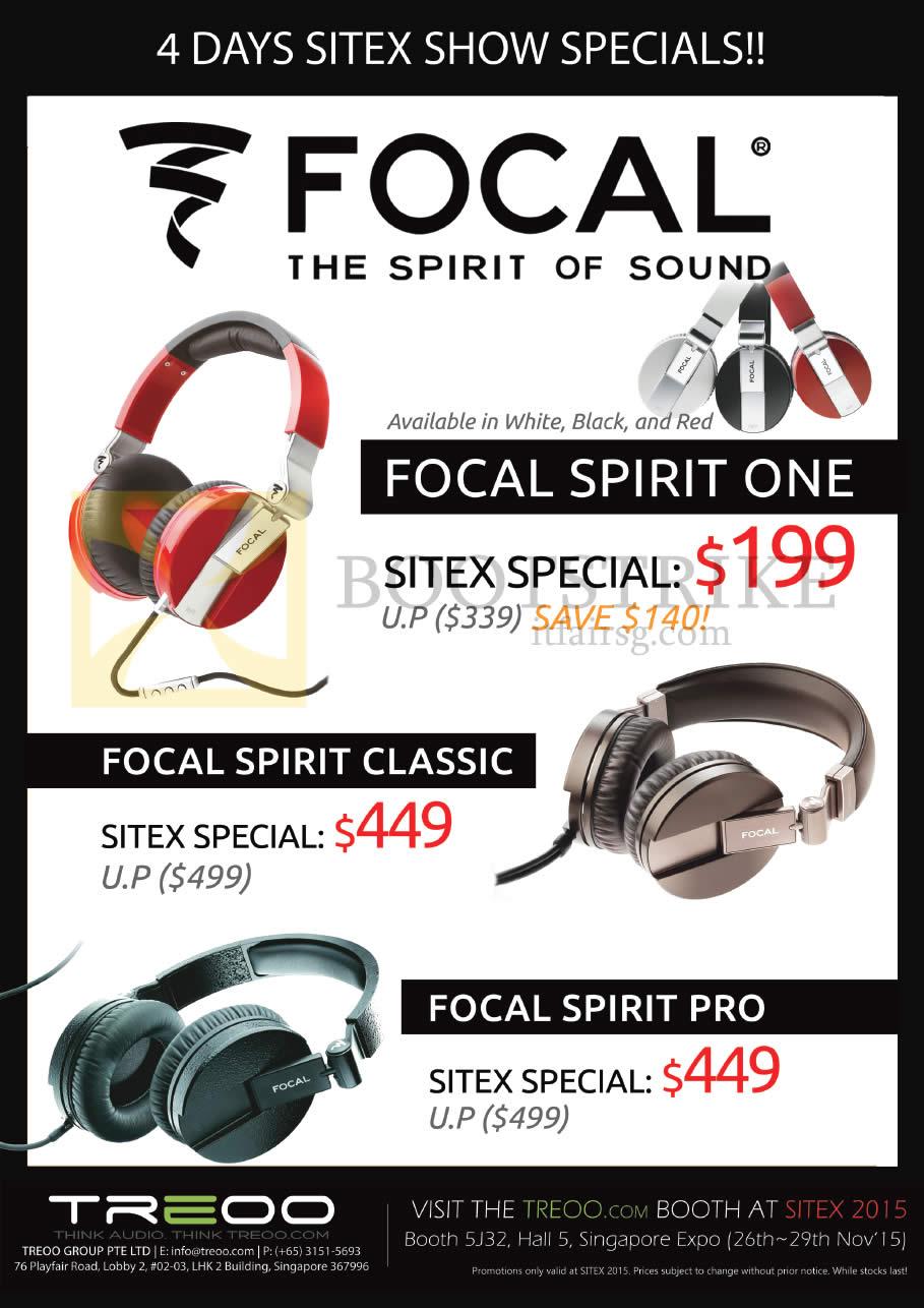 SITEX 2015 price list image brochure of Treoo Headphones Focal Spirit One, Focal Spirit Classic, Focal Spirit Pro