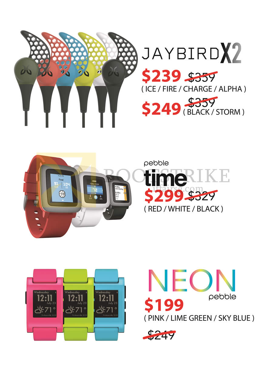 SITEX 2015 price list image brochure of Treoo Jaybird X2, Pebble Time, Neon Pebble
