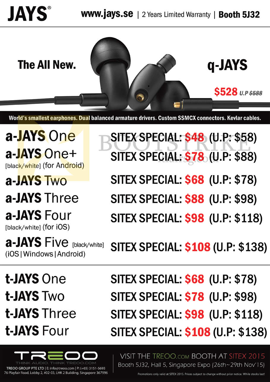 SITEX 2015 price list image brochure of Treoo Jays Earphones A-JAYS, T-JAYS, One, One Plus, Two, Three, Four, Five