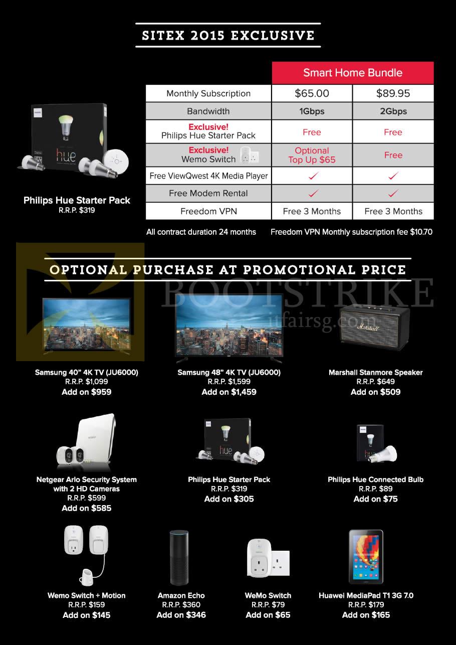 SITEX 2015 price list image brochure of ViewQwest Home Bundle, Philips Hue Starter Pack, TVs, Speaker, Cameras, Bulb, Wemo Switch Motion, Amazon Echo, Huawei MediaPad