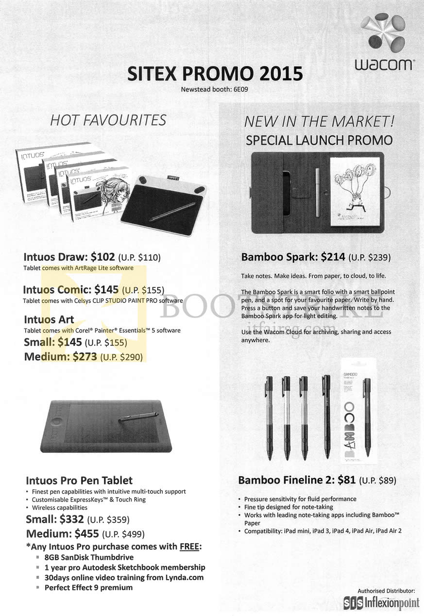 SITEX 2015 price list image brochure of Wacom Hot Favourites, Intuos Draw, Bamboo Spark, Intuos Pro Pen Tablet, Bamboo Fineline 2