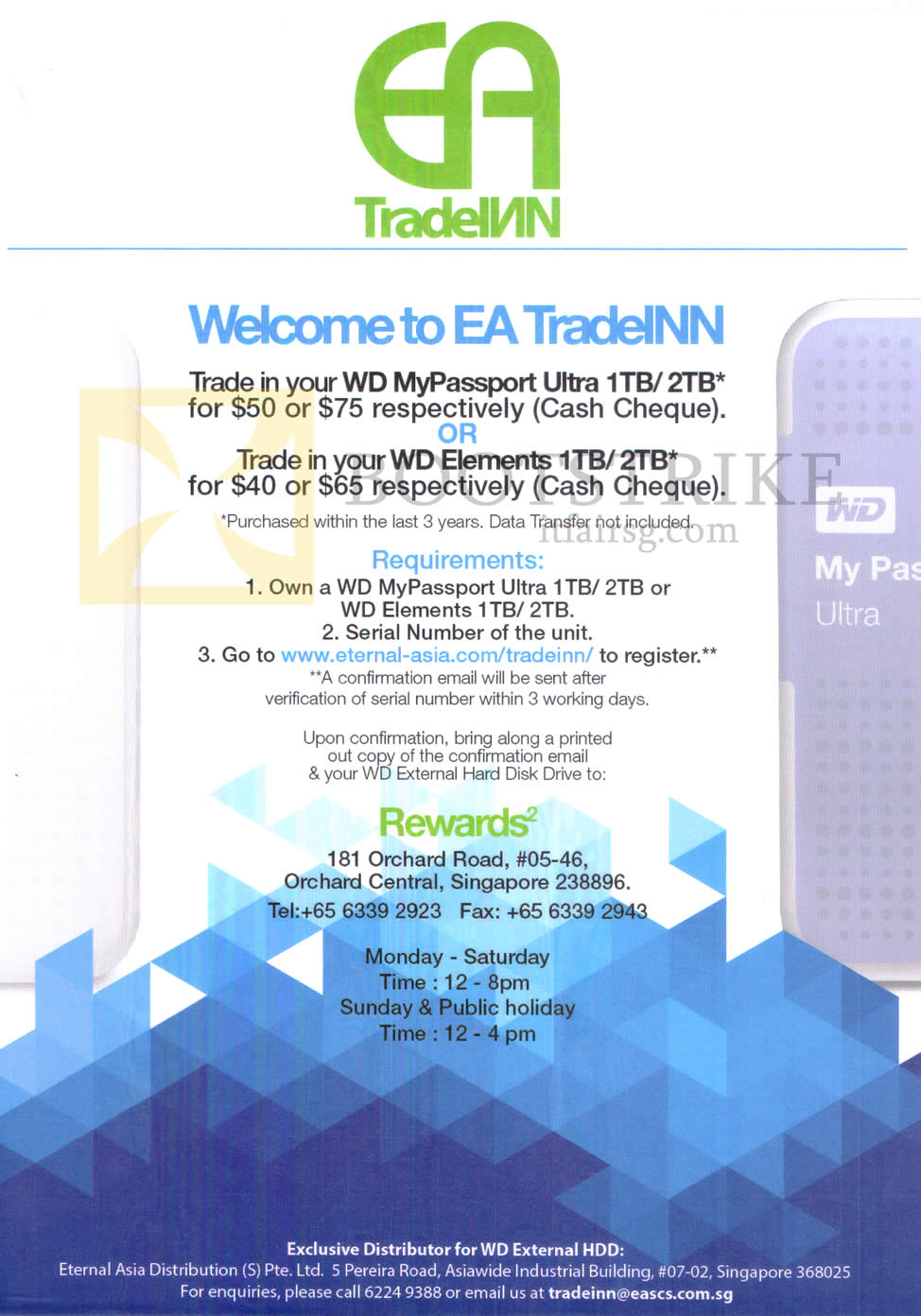 SITEX 2015 price list image brochure of Western Digital Eternal Asia Trade-In WD My Passport Ultra 1TB, 2TB