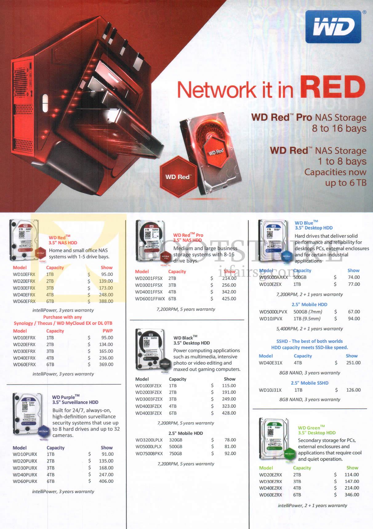 SITEX 2015 price list image brochure of Western Digital Internal Hard Disk, NAS Storage Bays Red, Purple, Red Pro, Black, Blue, Green 320GB, 500GB, 750GB, 1TB, 2TB, 3TB, 4TB, 6TB