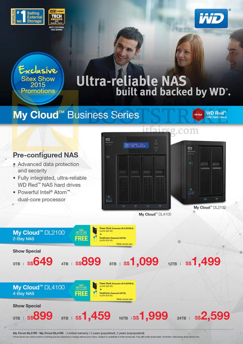 SITEX 2015 price list image brochure of Western Digital My Cloud Business Stories DL2100, DL4100, 2Bay, 4Bay NAS, 0TB, 4TB, 8TB, 12TB, 16TB, 24TB
