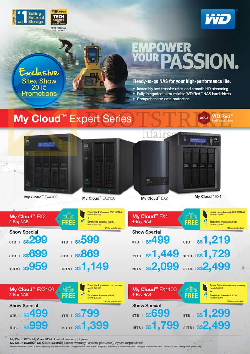 SITEX 2015 price list image brochure of Western Digital My Cloud Expert Series EX2 2Bay NAS, EX4 4 Bay NAS, EX2100 E Bay NAS, EX4100 4 Bay NAS, 0TB, 4TB, 6TB, 8TB, 10TB, 12TB, 16TB, 20TB, 24TB