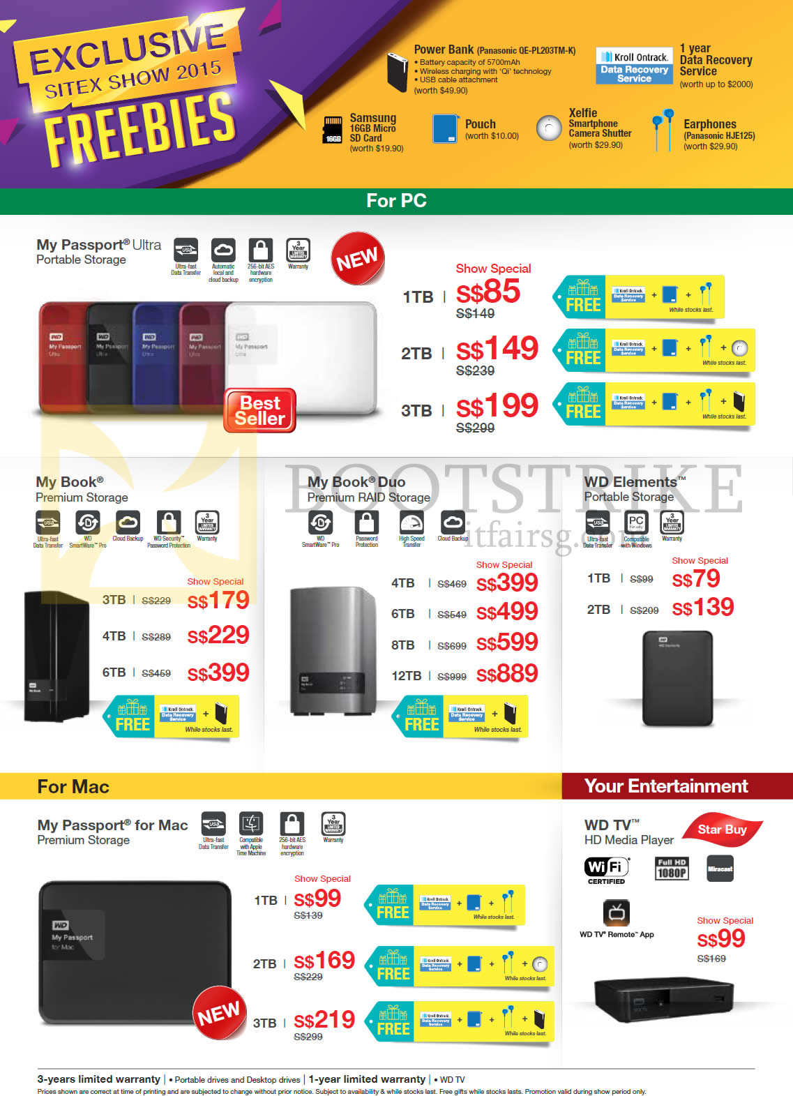 SITEX 2015 price list image brochure of Western Digital Storage Solutions, My Passport Ultra, My Book Premium Storage, My Book Duo, WD Elements, My Passport For Mac, WD TV, 1TB, 2TB, 3TB, 4TB, 6TB, 8TB, 12TB