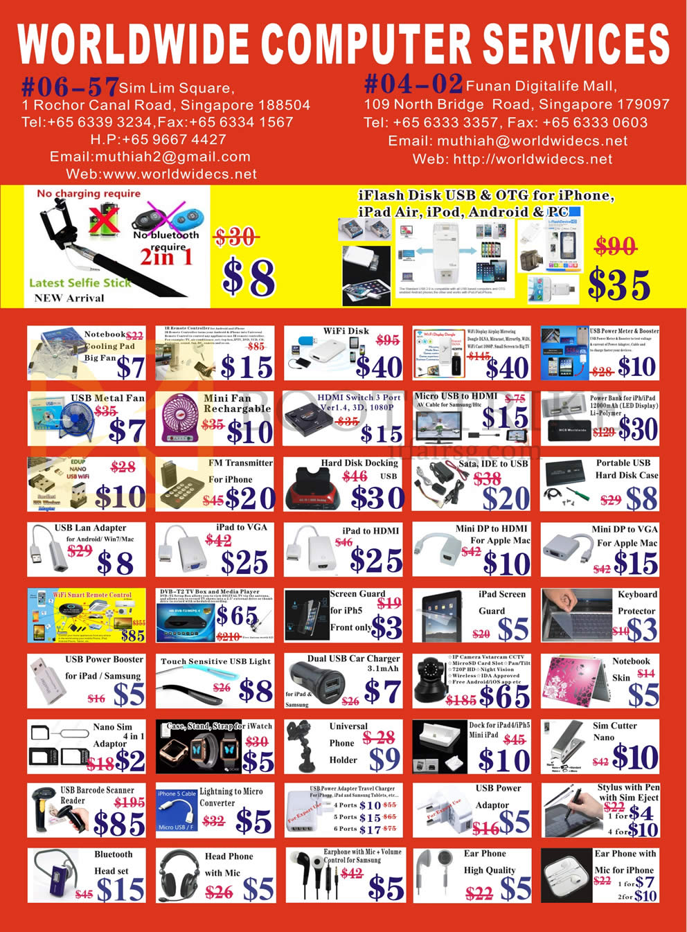 SITEX 2015 price list image brochure of Worldwide Computer Services Accessories Cooling Fan, Wifi Disk, FM Transmitter, Hard Disk Docking, Mini DP, Cables, Media Player, Notebook Skin, USB Power Adaptor