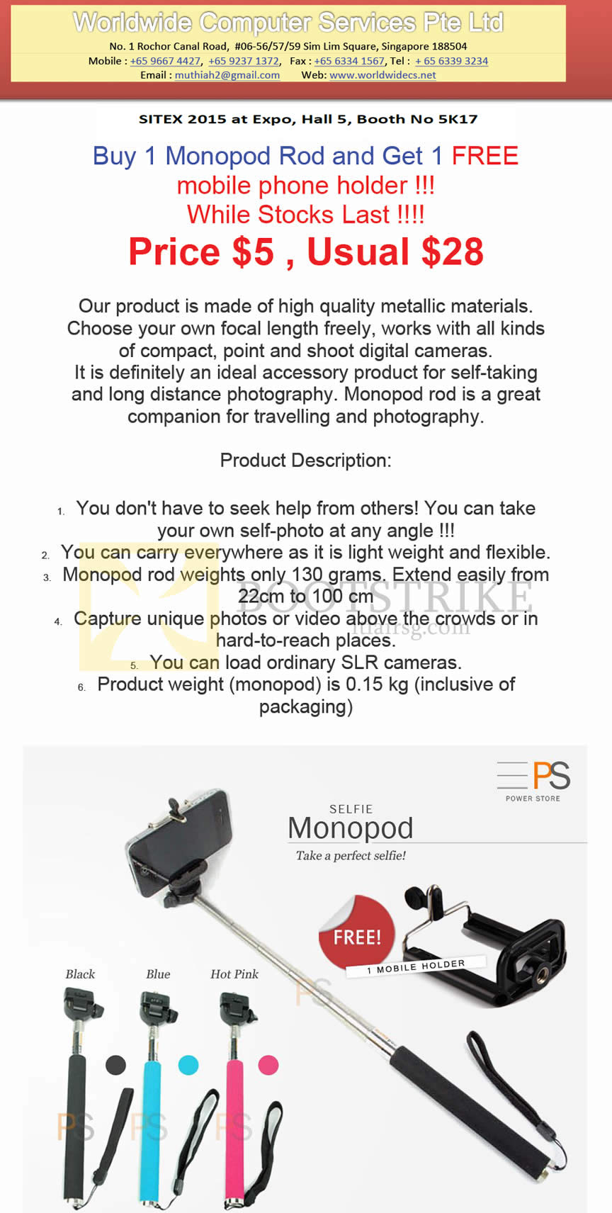 SITEX 2015 price list image brochure of Worldwide Computer Services Buy 1 Monopod Rod Get 1 Free