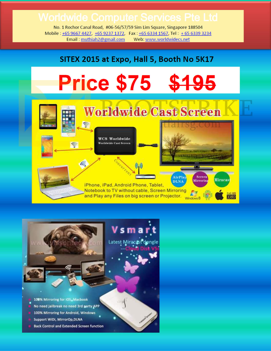 SITEX 2015 price list image brochure of Worldwide Computer Services Cast Screen Vsmart Dongle