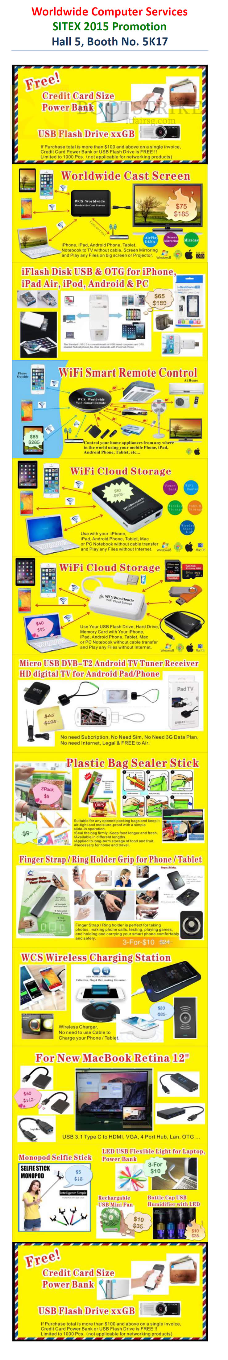 SITEX 2015 price list image brochure of Worldwide Computer Services Cast Screen, IFlash Disk USB, Wifi Smart Remote Control, Cloud Storage, Plastic Bag Sealer Stick, Finger Strap For Phone