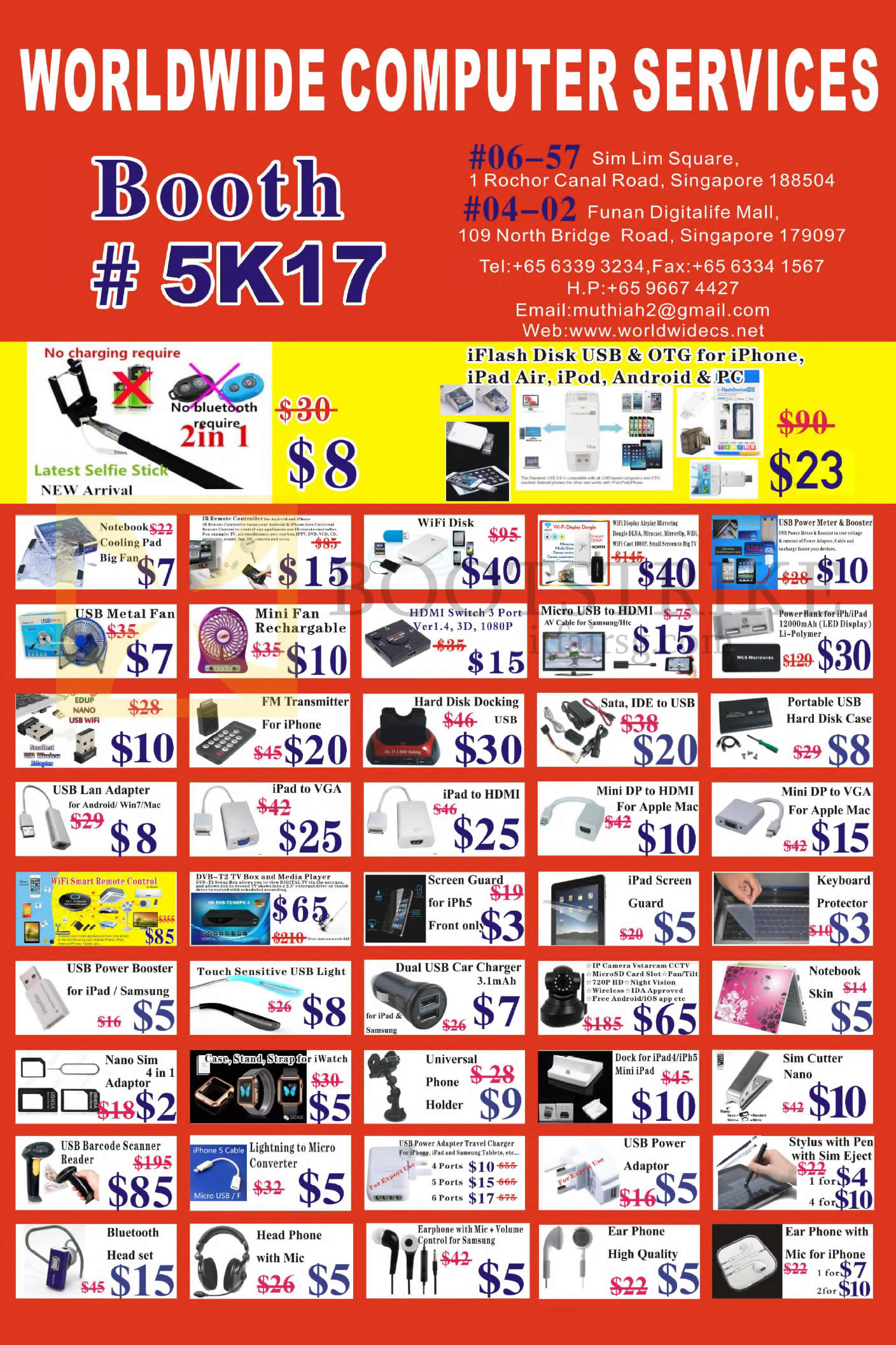 SITEX 2015 price list image brochure of Worldwide Computer Services Featured Offers, Accessories, USB, Cables, Charges, Adapters, Earphones