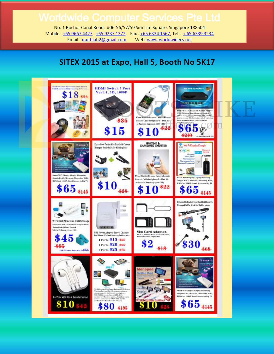 SITEX 2015 price list image brochure of Worldwide Computer Services HDMI Switch 3 Port, Wi-Fi Display Dongle, Wireless USB Storage, USB Power Adapter Travel Charger, Sim Card Adapter