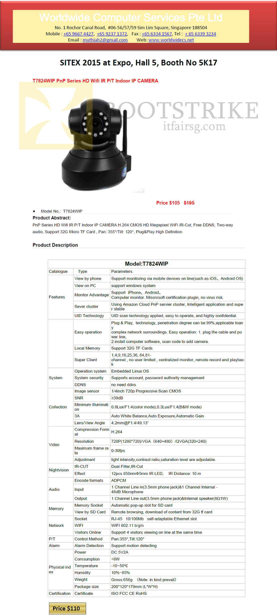 SITEX 2015 price list image brochure of Worldwide Computer Services IP Camera T7824WIP
