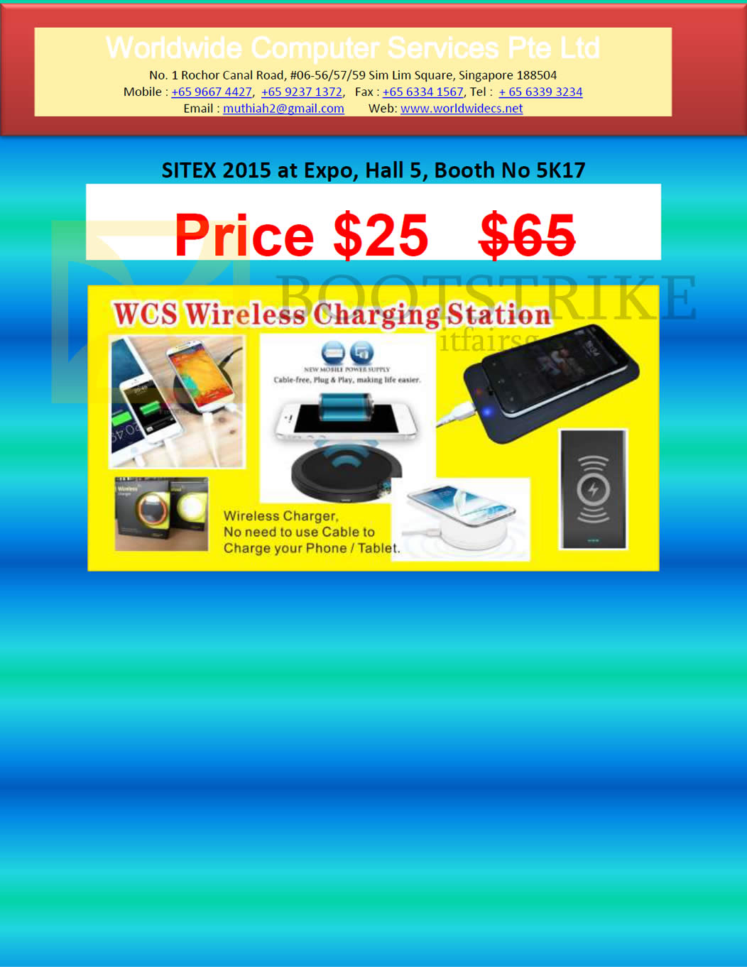 SITEX 2015 price list image brochure of Worldwide Computer Services WCS Wireless Charging Station