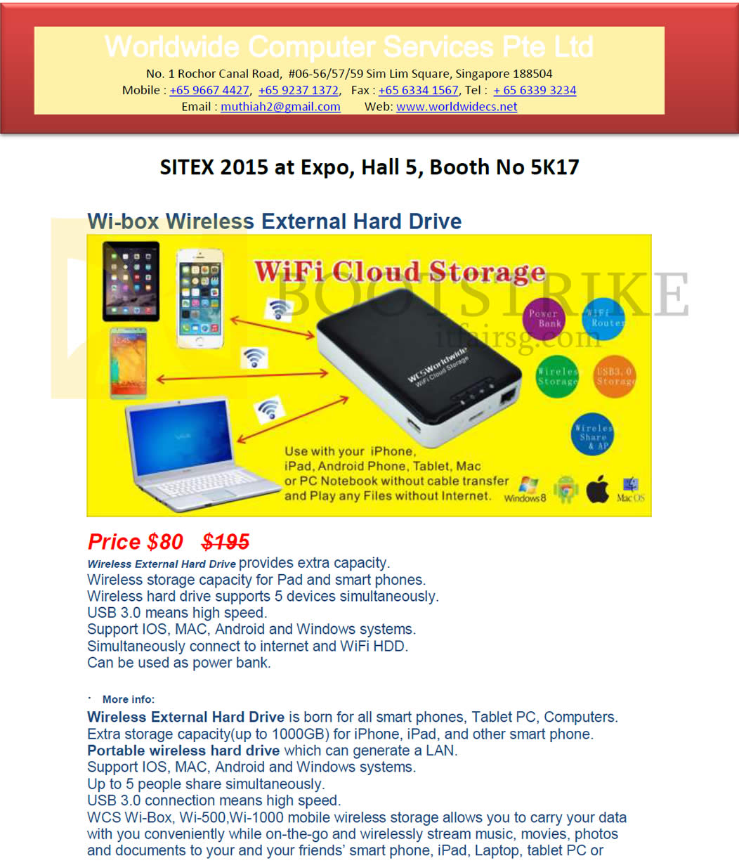 SITEX 2015 price list image brochure of Worldwide Computer Services Wifi Cloud Storage Page 2