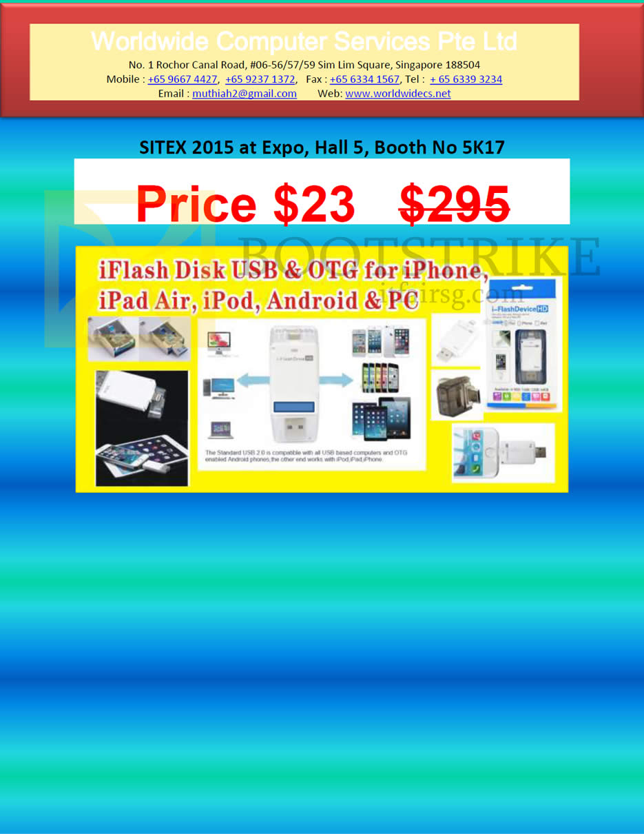 SITEX 2015 price list image brochure of Worldwide Computer Services IFlash Disk USB N OTG For Iphone, PC