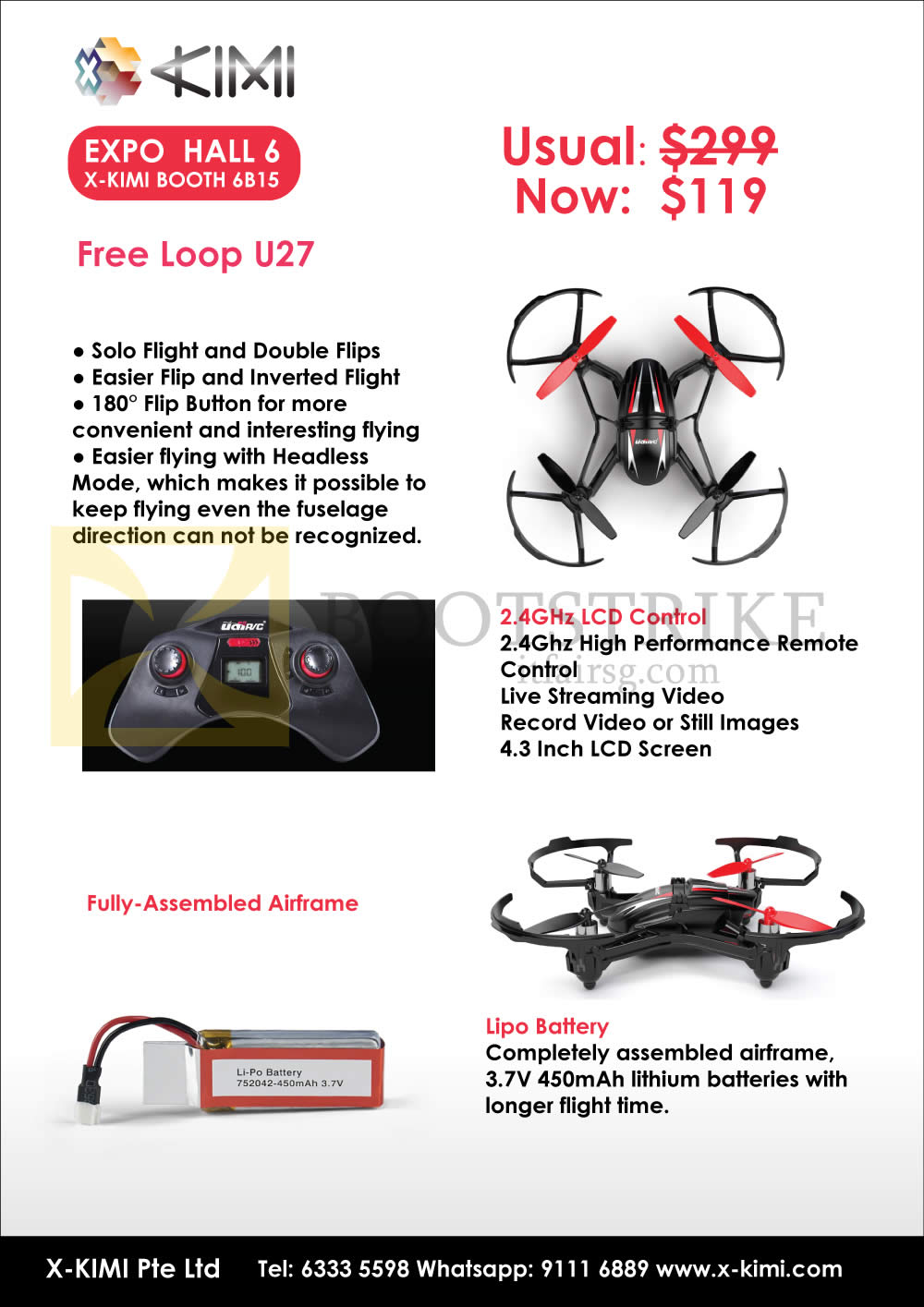 SITEX 2015 price list image brochure of X-Kimi Free Loop U27, 2.4GHz LCD Control, Fully Assembled Airframe, Lipo Battery