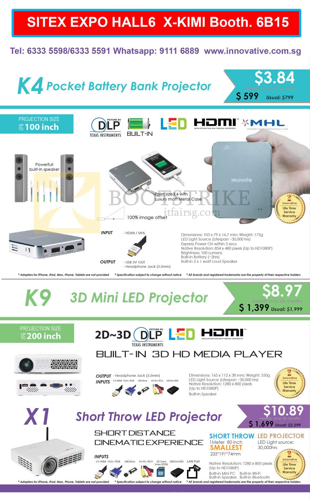 SITEX 2015 price list image brochure of X-Kimi Innovative Projectors K4, K9, X1