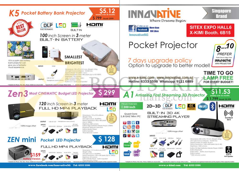 SITEX 2015 price list image brochure of X-Kimi Innovative Projectors K5, Zen 3, Mini, A1